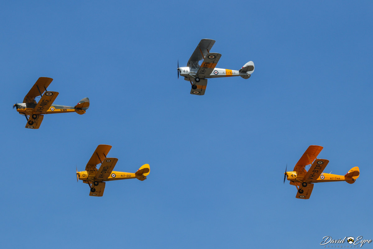De Havilland DH-82A Tiger Moth formation at the Sport Aircraft Builders Club (SABC) Annual Fly-In, Serpentine Airfield - 5 November 2017. Photo © David Eyre. VH-NIG / N9129 (MSN 82248) owned by Nigel Emmans. VH-DWD / A17-201 (MSN DHA202) owned by Bert Filippi. VH-WFN / A17-649 (MSN DHA799) owned by Bill Dearle. VH-BTP / A17-744 (MSN DHA1075/T315) owned by Clark Rees.
