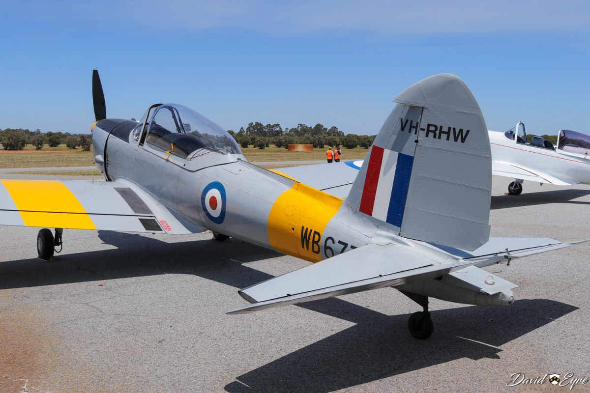 VH-RHW / WB677 De Havilland DHC-1 Chipmunk T.10 (MSN C1/0125) owned by Glen Caple, at Sport Aircraft Builders Club (SABC) Annual Fly-In, Serpentine Airfield - 5 November 2017. Photo © David Eyre. Built in 1950, delivered to the Royal Air Force (UK) as WB677 on 16 August 1950. Sold 24 September 1956 while in storage at No.10 Maintenance Unit, RAF Hullavington, UK. First registered in Australia on 21 November 1957 as VH-RHW by the Royal Aero Club of Western Australia, initially based at Maylands Aerodrome, Perth and then Perth Airport, until sold in 1962. It went through a series of owners until purchased by Glen Caple in 1973.