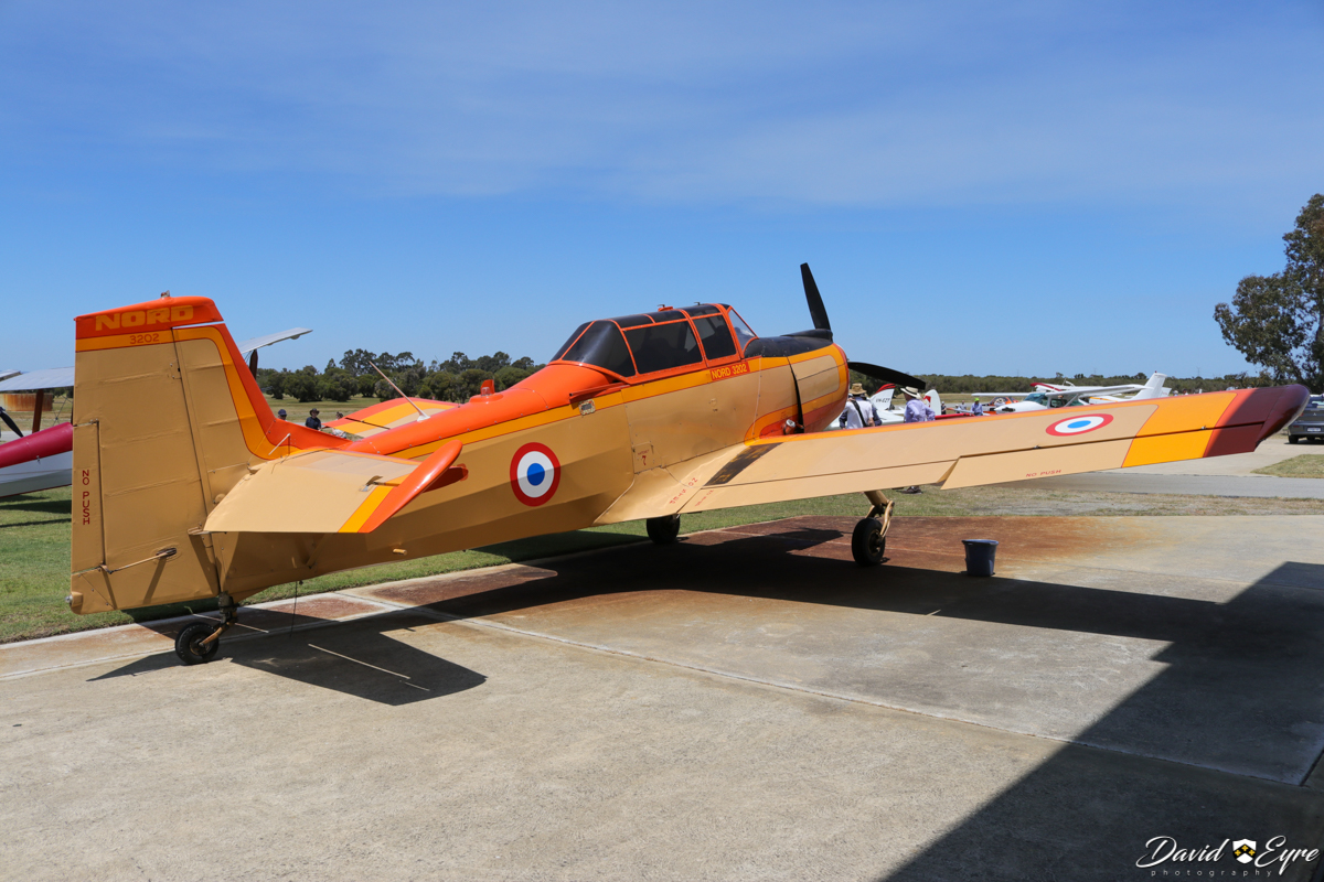 VH-UFB Nord 3202 (MSN 97) owned by Bert Filippi, at Sport Aircraft Builders Club (SABC) Annual Fly-In, Serpentine Airfield - 5 November 2017. Photo © David Eyre. The Nord 3202 was a 1950s French miltary trainer aircraft. This one was built in 1960 and served with the French Army as 97/F-MAIP. Upon retirement, it was sold as N2256W to David C. Tallichet & John R. Hawke/Euroworld California Inc, Long Beach California on 20 Feb 1978, but was stored in Florida in yellow French Army paint. In 1984, it was sold to Levolor Lorentzen Inc, Lyndhurst, New Jersey and in 1987 to Hubert B. Finch, Houston, Texas. On 12 November 1991 it was registered VH-UFB to Bert Filippi.