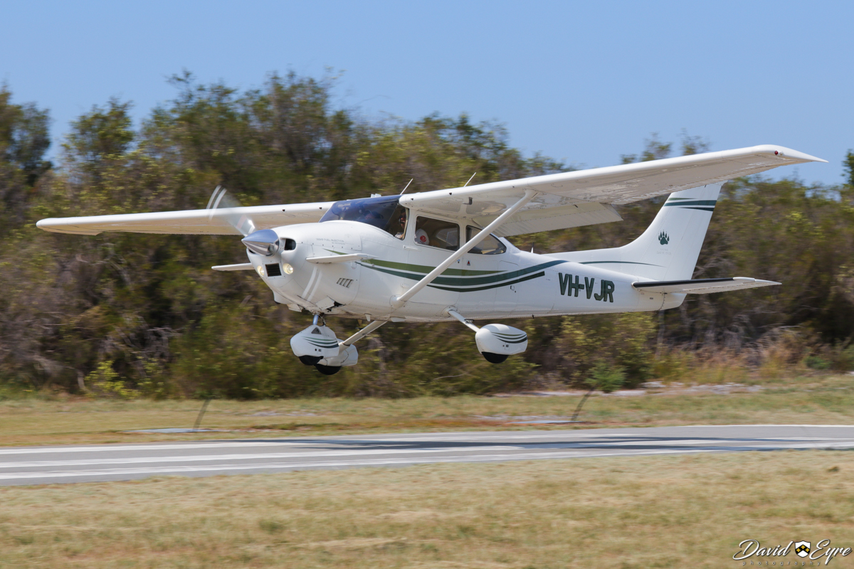 VH-VJR Cessna 182Q Skylane Peterson Katmai 260SE/STOL (MSN 18266636) owned by Jean J Bely, operated by Rudolph Engelbrecht, at the Sport Aircraft Builders Club (SABC) Annual Fly-In, Serpentine Airfield - 5 November 2017. Photo © David Eyre. The Peterson Katmai 260SE/STOL is a Short Take-off Or Landing (STOL) conversion of a Cessna 182 airframe, adding a high-lift canard fitted with elevators in the slipstream behind the propeller and a more-powerful fuel-injected 260 hp (194 kW) Continental IO-470-R engine. This provides a flaps-down stall speed of 35 knots (flaps-up at 42 kts), cruise speed at 6500 ft with 65% power of 145 knots and both take-off and landing distances are 390 feet (119 metres). This example is a modified 1978 Cessna 182Q Skylane, ex N95803.