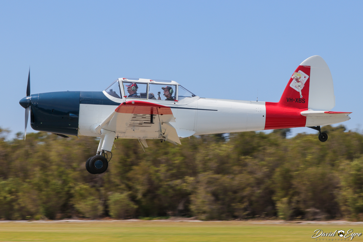VH-XBS De Havilland DHC-1 Chipmunk T.20 (MSN C1/0413) owned by Aeros Casino Pty Ltd, at the Sport Aircraft Builders Club (SABC) Annual Fly-In, Serpentine Airfield - 5 November 2017. Photo © David Eyre. Delivered from Broughton, UK to Hatfield, UK on 24 October 1951; accepted 19 April 1952; assigned 9 July 1952 to the Royal Thai Air Force, military serial F9-37/95. To VH-XBS 23 October 1991. Still wears its original basic Royal Thai Air Force white and red colours, minus the military insignia.
