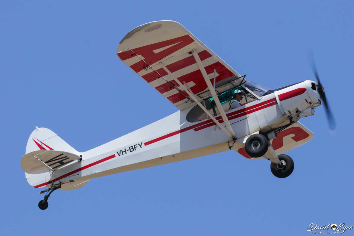 VH-BFY Piper PA-18-150 Super Cub (MSN 18-8109004) of Brian Colligridge / Air Ads at Jandakot Airport - 12 November 2017. Photo © David Eyre Fitted with a rope and hook for towing advertising banners - today, it was towing a marriage proposal! Seen here climbing after dropping the banner to ground crew before going around to land. Built in 1981, ex N24410.