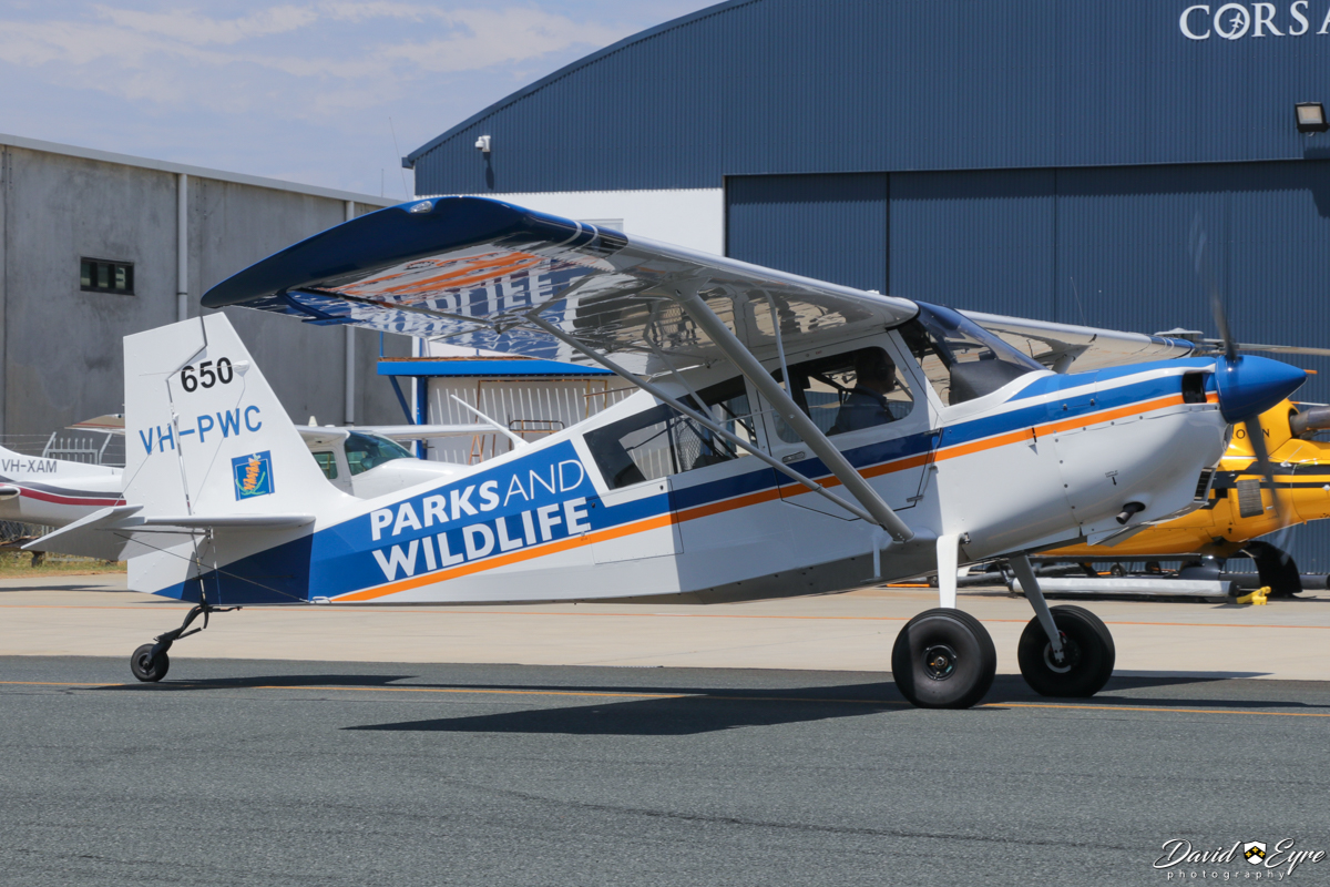 VH-PWC / SPOTTER 650 American Champion 8GCBC Scout (MSN 580-2016) of the Department of Parks and Wildlife, at Jandakot Airport - 12 November 2017. Used in the southwest of Western Australia on forest patrols to spot fires and to supervise water bombing operations. Photo © David Eyre