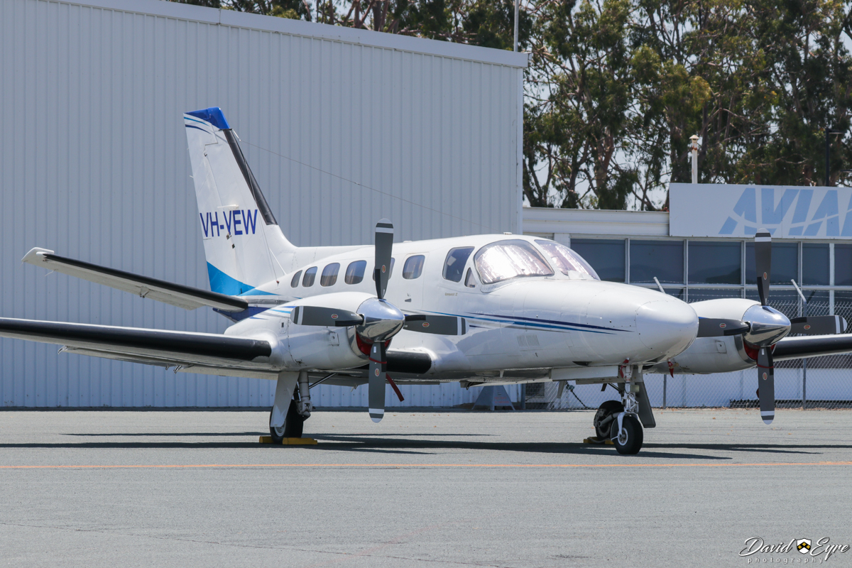 VH-VEW Cessna 441 Conquest (MSN 441- owned by Corporate Air (Vee-H Aviation Pty Ltd), of Fyshwick, ACT, at Jandakot Airport - 12 November 2017. Photo © David Eyre Using the callsign 'SURVEY 24', this photographic survey aircraft flew mapping surveys over the Perth metropolitan area for a while. Built in 1982, ex C-FWCP, C-GKCH, N264WS, F-ODUJ, G-EVNS, (F-ODJP), N88795.