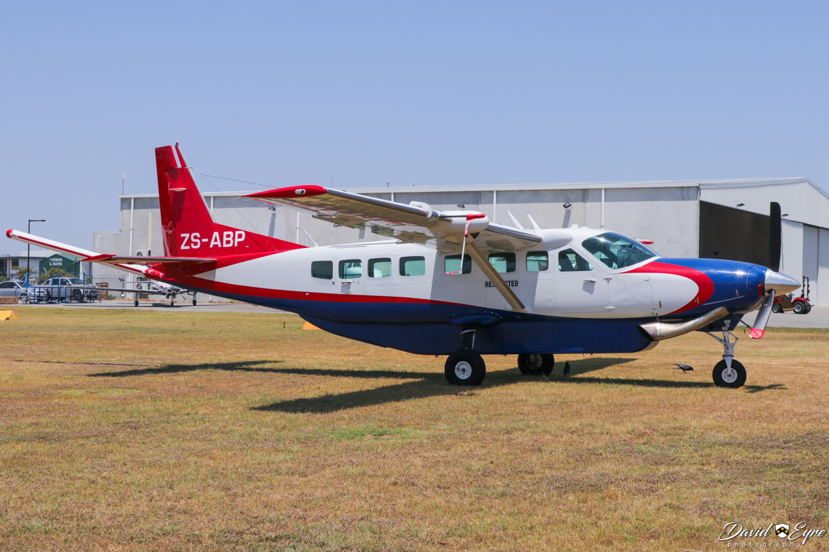 ZS-ABP Cessna 208B Grand Caravan (MSN 208B2305) previously operated by UTS Aviation Pty Ltd (owned by Geotech Aviation), at Jandakot Airport - 12 November 2017. Modified for geophysical survey work with a magnetometer 'stinger' tailboom. Built in 2011, ex C-GZTB, VH-UTJ, C-FBOA, VH-UTJ. The registration VH-UTJ was cancelled 9 October 2017 as the aircraft has been registered in South Africa as ZS-ABP, but it was still parked at Jandakot as at 2 Feb 2018. Photo © David Eyre
