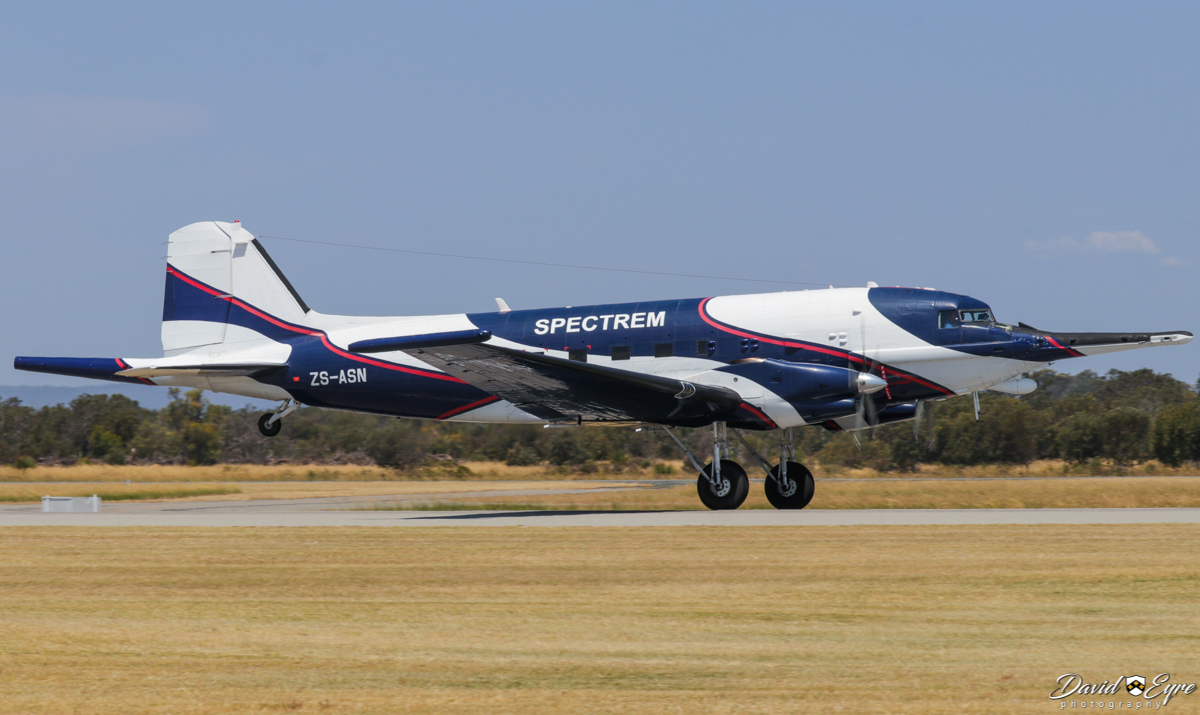 ZS-ASN Douglas DC-3C (C-47B-40-DK) Basler BT-67 Turbo-67 (MSN 16833/33581) of Spectrem Air, South Africa, at Jandakot Airport, Western Australia – 12 Nov 2017. Photo © David Eyre First visit to Western Australia. Landing on runway 24R at 1:11pm, flying in from South Africa via multiple stops over 8 days. Spectrem Air is a division of Anglo American Corporation and the aircraft is used for airborne electromagnetic surveys, detecting minerals underground. After having the wire aerials re-fitted, the aircraft flew to Nova Airstrip, east of Kalgoorlie, to conduct survey work. Built by Douglas at Oklahoma City, USA as a military C-47B-40-DK, it was delivered on 30 June 1945 to the United States Army Air Force (USAAF) and given the military serial 44-77249 (tail number 477249). It went to the Royal Air Force in the UK as KP279 (designated a Douglas Dakota Mk.IV) in July 1945. In January 1952, it joined British European Airways as G-AMNV, named 'Sir Eric Geddes'. Later registered EC-ATM, G-AMNV, SE-EDI, G-AMNV, (6V-AAM not taken up), G-AMNV (cancelled Jan 1965), VQ-ZEA, A2-ZEA, ZS-FKI (1968), ZS-NPI (Nov 1969), ZS-ASN (Feb 1973). In 1982, ZS-ASN was fitted with magnetometer tail 'stinger' and wingtip housings at Toronto, Canada. During 1991/1992, was converted to a Basler BT-67 (DC-3TP) (conversion number 11) during Nov 1991 - June 1992, re-engined with Pratt & Whitney PT6A-67R turboprop engines, with the fuselage stretched 40 inches ahead of the center-section, to maintain the centre of gravity (due to reduced weight of the turboprop engines). Later registered A2-ADL, ZS-ASN, PR-MGF, PT-WXE, ZS-ASN (31 Jul 2002), PR-MSY (2007), ZS-ASN (15 Feb 2008).
