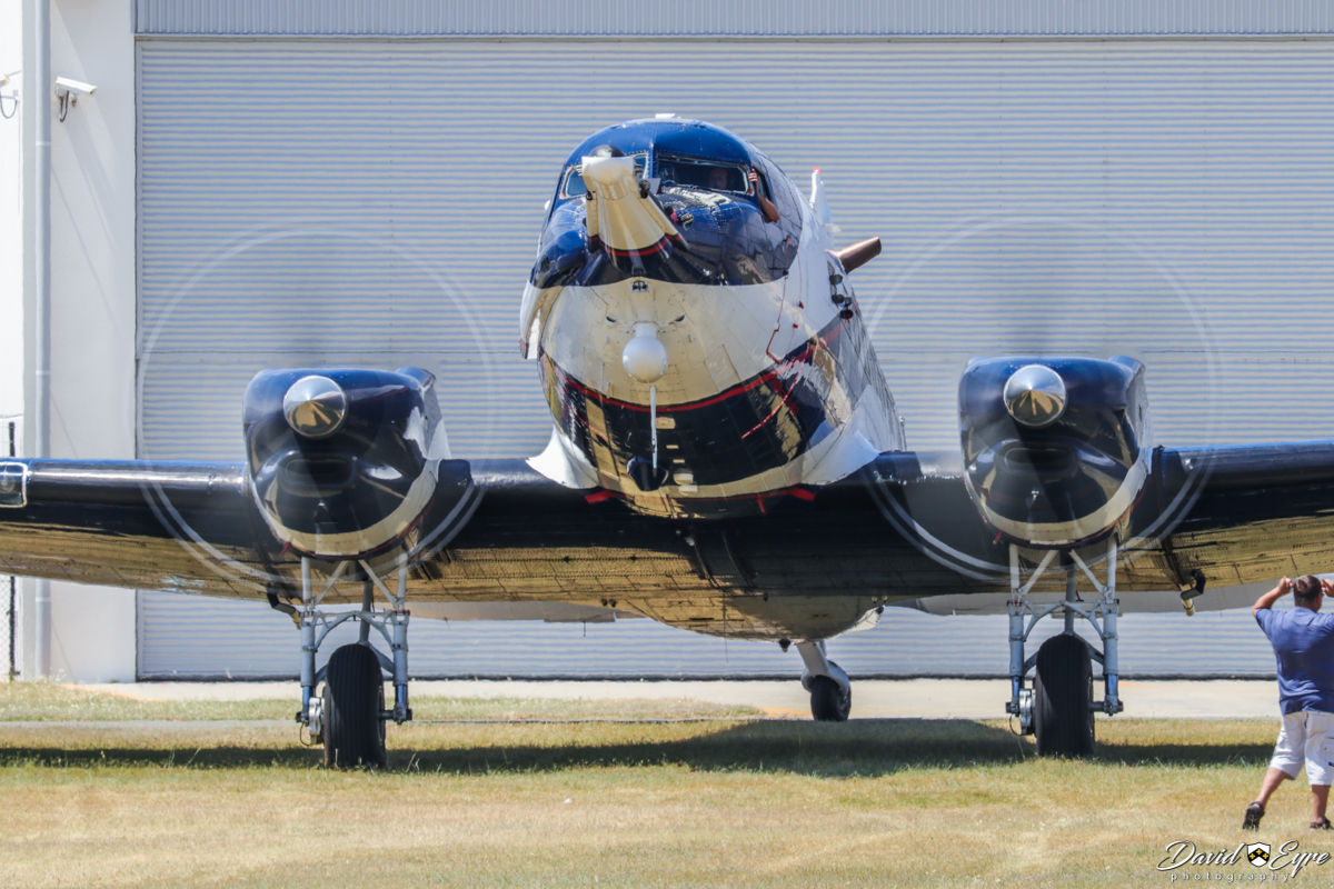 ZS-ASN Douglas DC-3C (C-47B-40-DK) Basler BT-67 Turbo-67 (MSN 16833/33581) of Spectrem Air, South Africa, at Jandakot Airport, Western Australia – 12 Nov 2017. Photo © David Eyre First visit to Western Australia. Taxying in to park on the grass at 1:15pm, flying in from South Africa via multiple stops over 8 days. Spectrem Air is a division of Anglo American Corporation and the aircraft is used for airborne electromagnetic surveys, detecting minerals underground. After having the wire aerials re-fitted, the aircraft flew to Nova Airstrip, east of Kalgoorlie, to conduct survey work. Built by Douglas at Oklahoma City, USA as a military C-47B-40-DK, it was delivered on 30 June 1945 to the United States Army Air Force (USAAF) and given the military serial 44-77249 (tail number 477249). It went to the Royal Air Force in the UK as KP279 (designated a Douglas Dakota Mk.IV) in July 1945. In January 1952, it joined British European Airways as G-AMNV, named 'Sir Eric Geddes'. Later registered EC-ATM, G-AMNV, SE-EDI, G-AMNV, (6V-AAM not taken up), G-AMNV (cancelled Jan 1965), VQ-ZEA, A2-ZEA, ZS-FKI (1968), ZS-NPI (Nov 1969), ZS-ASN (Feb 1973). In 1982, ZS-ASN was fitted with magnetometer tail 'stinger' and wingtip housings at Toronto, Canada. During 1991/1992, was converted to a Basler BT-67 (DC-3TP) (conversion number 11) during Nov 1991 - June 1992, re-engined with Pratt & Whitney PT6A-67R turboprop engines, with the fuselage stretched 40 inches ahead of the center-section, to maintain the centre of gravity (due to reduced weight of the turboprop engines). Later registered A2-ADL, ZS-ASN, PR-MGF, PT-WXE, ZS-ASN (31 Jul 2002), PR-MSY (2007), ZS-ASN (15 Feb 2008).