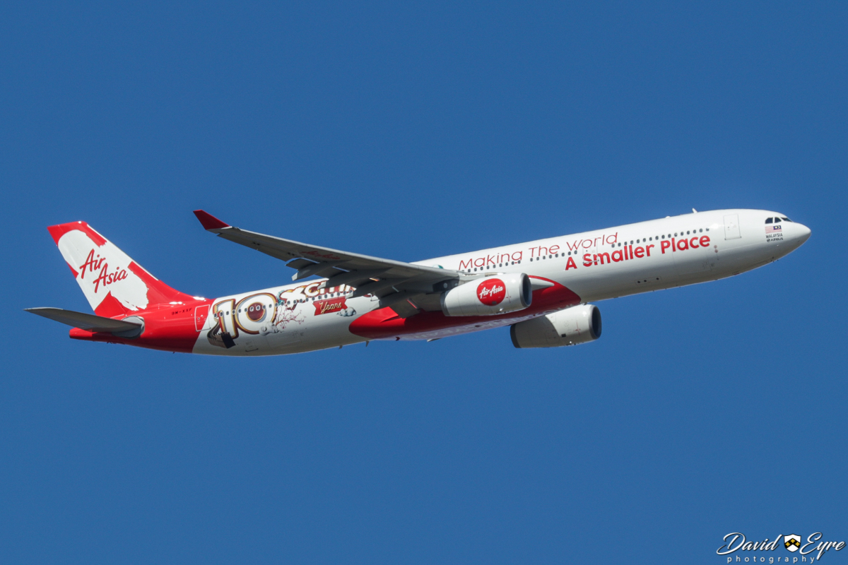 9M-XXF Airbus A330-343 (MSN 1126) of Air Asia X, with '10 Xciting Years - Making the world a smaller place' livery - over the Swan Valley, north of Perth – 18 November 2017. Photo © David Eyre Flight D7232 from Kuala Lumpur, turning onto the approach for Perth Airport's runway 21 at 3:21pm.