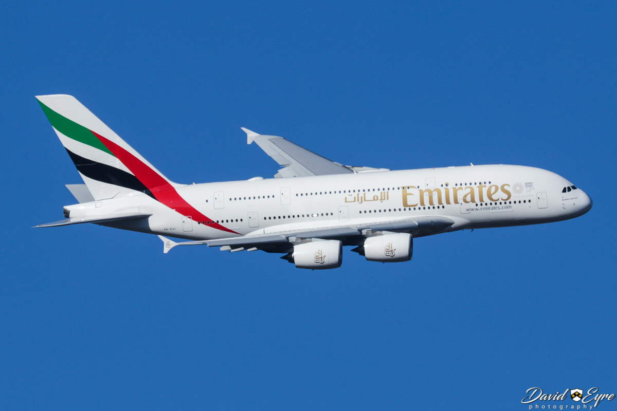 A6-EUI Airbus A380-861 (MSN 221) of Emirates, over the Swan Valley, north of Perth - 20 November 2017. Photo © David Eyre Flight EK420 turning onto the approach to Perth Airport's runway 21 at 5:41pm, after a 10-hour flight from Dubai.