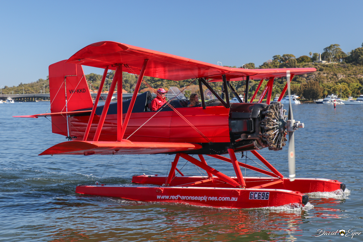 VH-KKD Grumman G-164A Sea Cat of Red Baron Seaplanes flying from